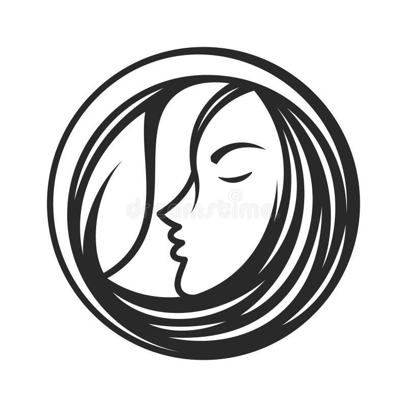 El mejor icono creativo de la cara de la mujer de la silueta con la línea ilustración del vector