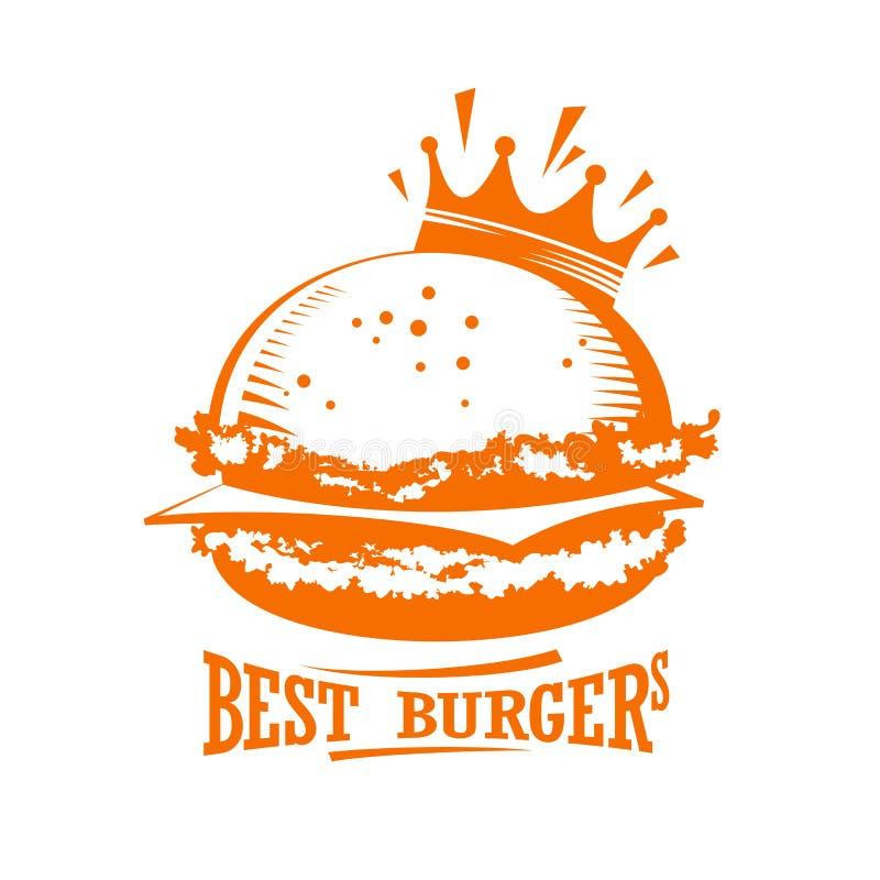 El mejor logotipo del gráfico de las hamburguesas ilustración del vector