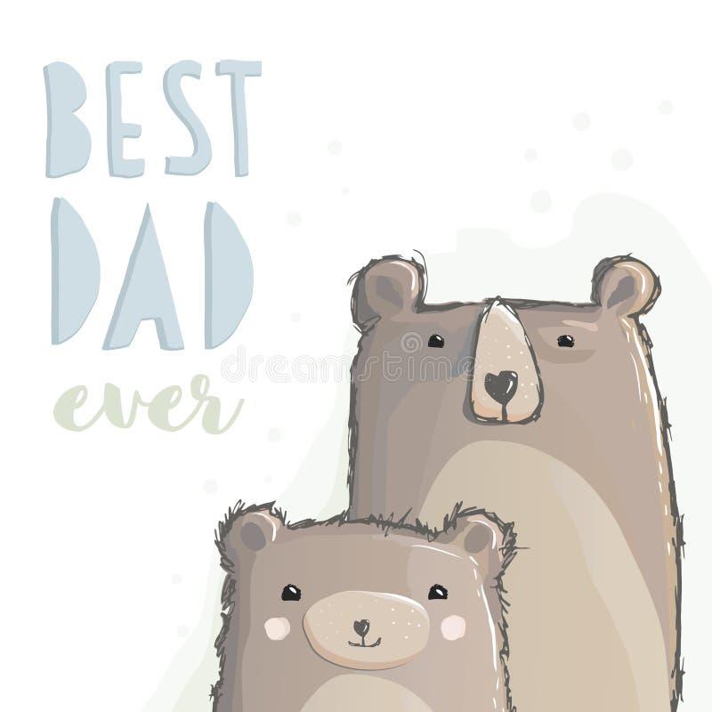 El mejor papá nunca La mano dibujada lleva el gráfico de vector Oso grande del papá y pequeño oso del bebé Diseño del vector del  libre illustration