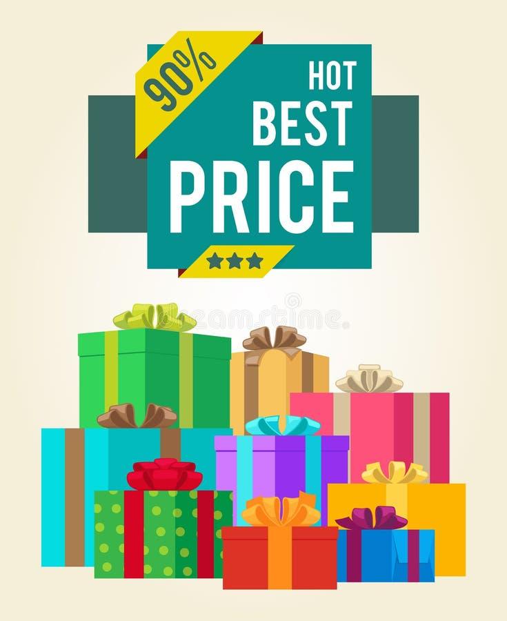 El mejor precio caliente descuenta venta estupenda del total final 90 ilustración del vector
