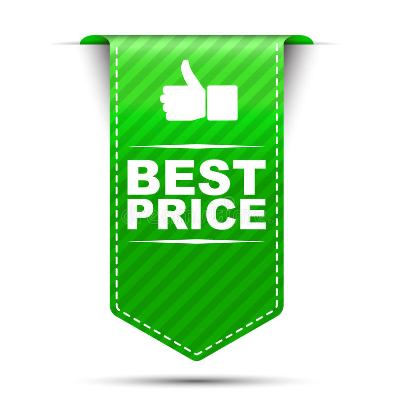 El mejor precio del diseño verde de la bandera stock de ilustración