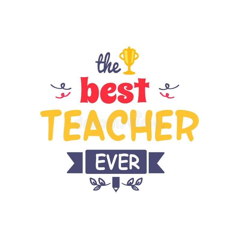 El mejor profesor Ever Vector Illustration stock de ilustración