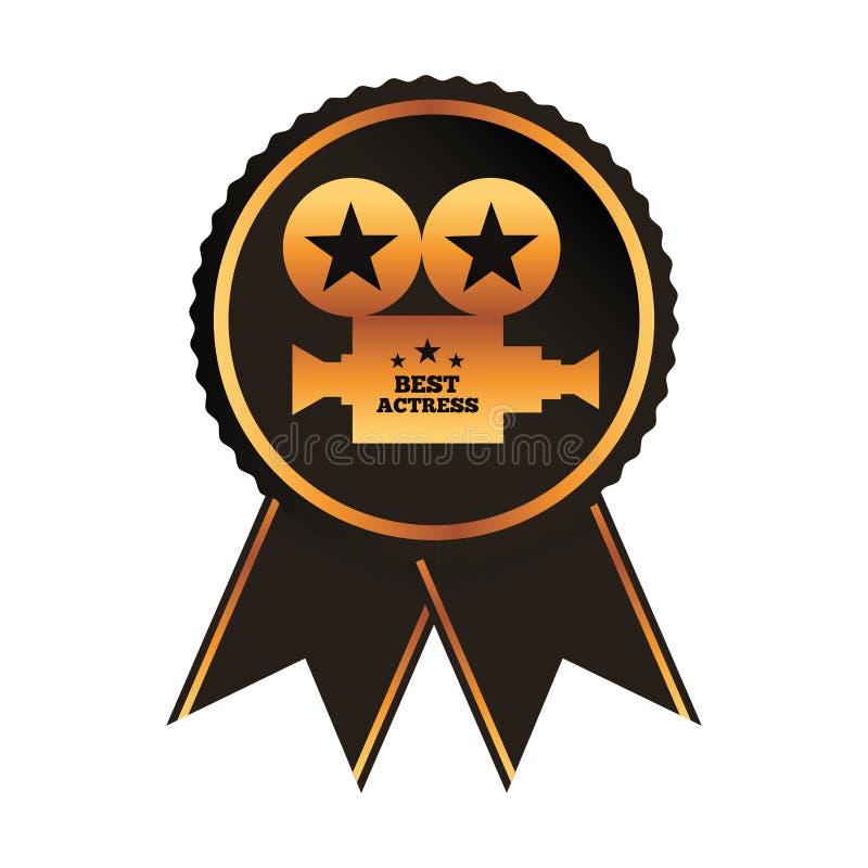 El mejor proyector del oro de la actriz del premio negro del rosetón libre illustration