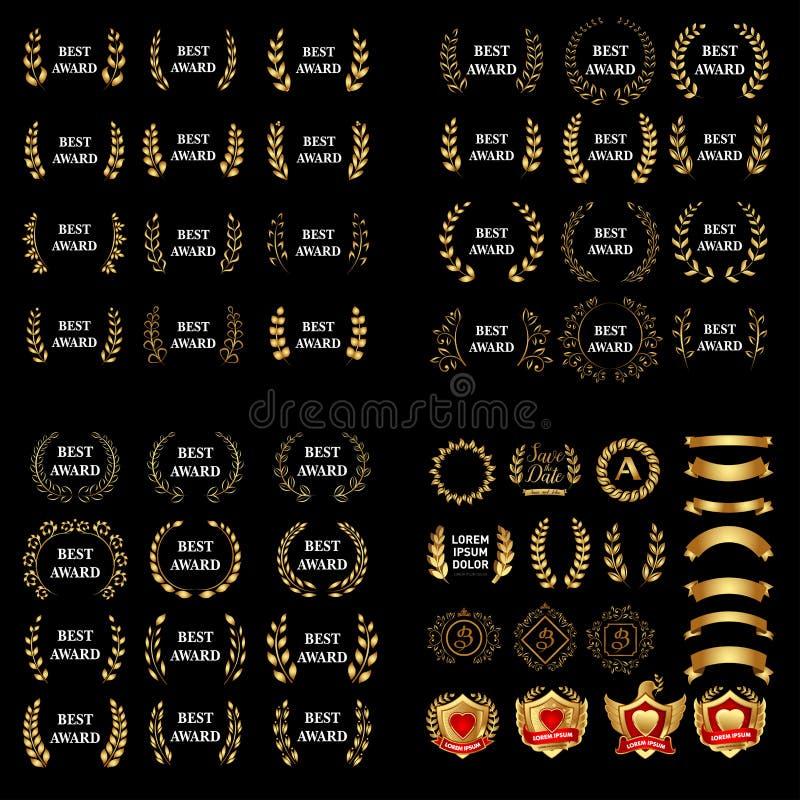 El mejor sistema de la guirnalda del laurel del premio del oro del vector del premio Etiqueta del ganador, victoria del símbolo d libre illustration