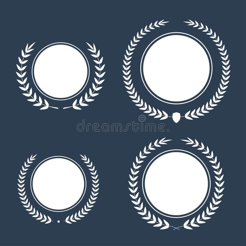 El mejor sistema de la guirnalda del laurel del premio del vector del premio Etiqueta del ganador, victoria del símbolo de la hoj libre illustration
