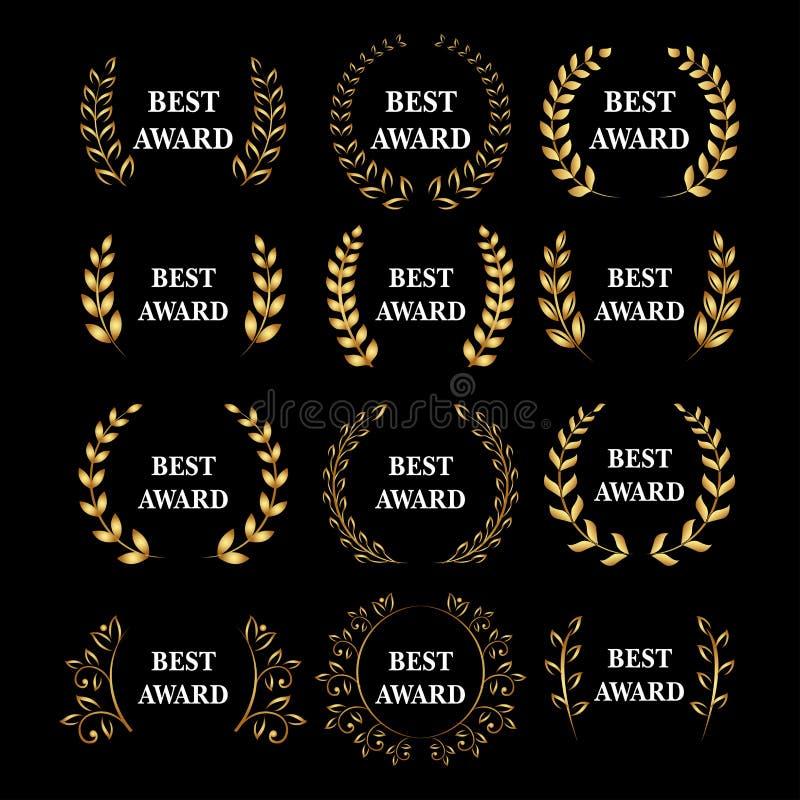 El mejor sistema de la guirnalda del laurel del premio del oro del vector del premio Etiqueta del ganador, victoria del símbolo d ilustración del vector