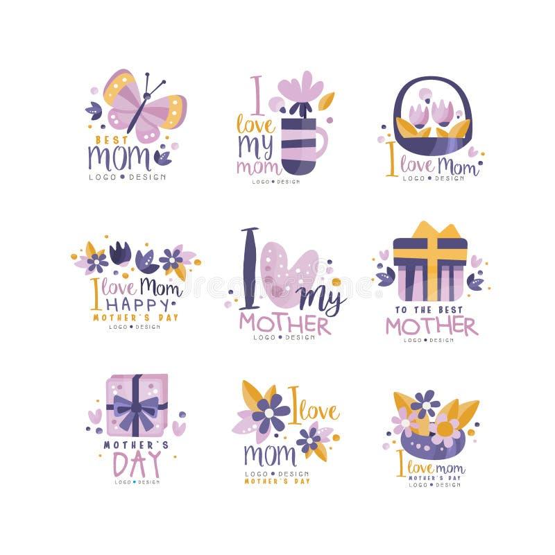 El mejor sistema del diseño del logotipo de la mamá, etiquetas creativas felices del día de madres para la bandera, cartel, tarje stock de ilustración