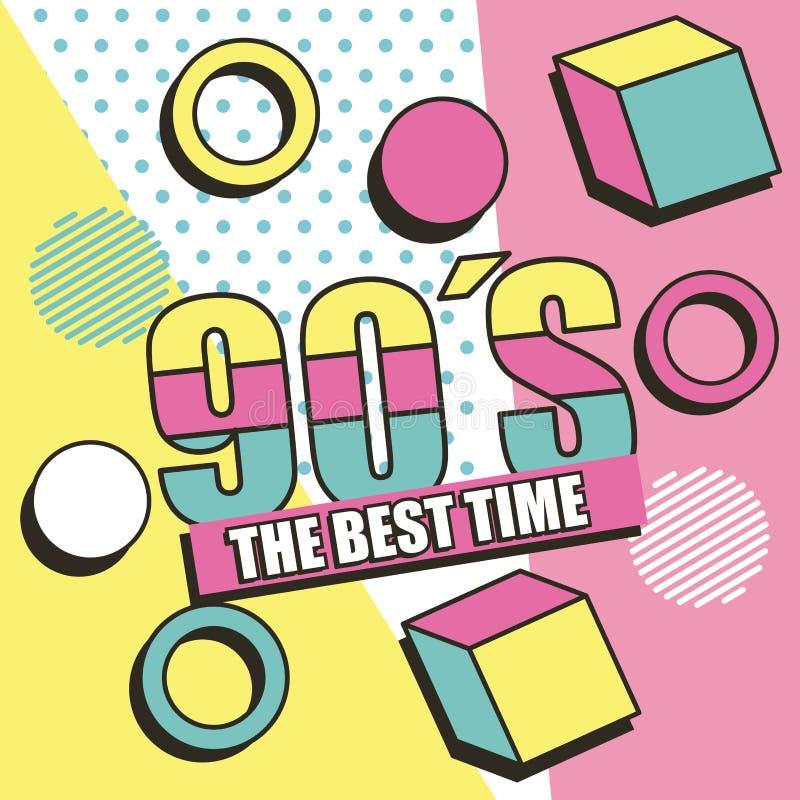 El mejor tiempo 90s Memphis figura el fondo ilustración del vector