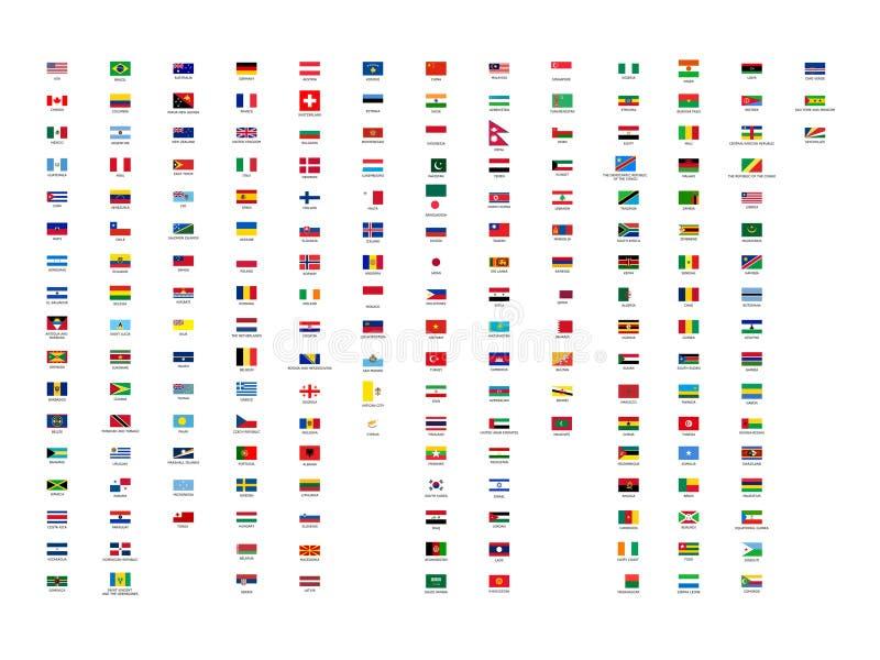 El mejor todo el mundo de los continentes señala la colección por medio de una bandera con nombres de país ilustración del vector