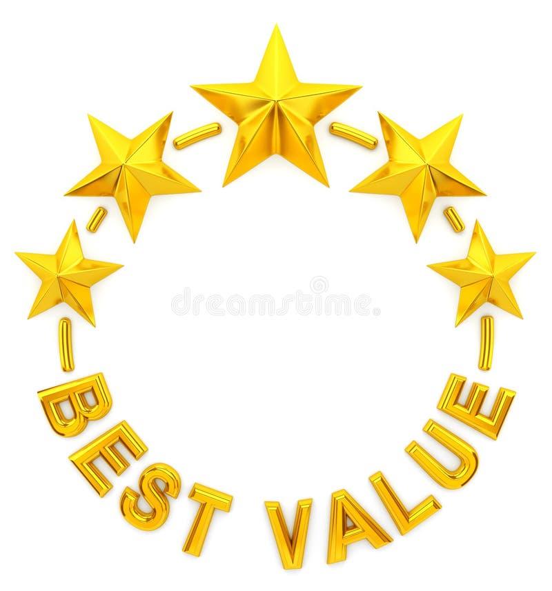 El mejor valor de la estrella de oro cinco ilustración del vector