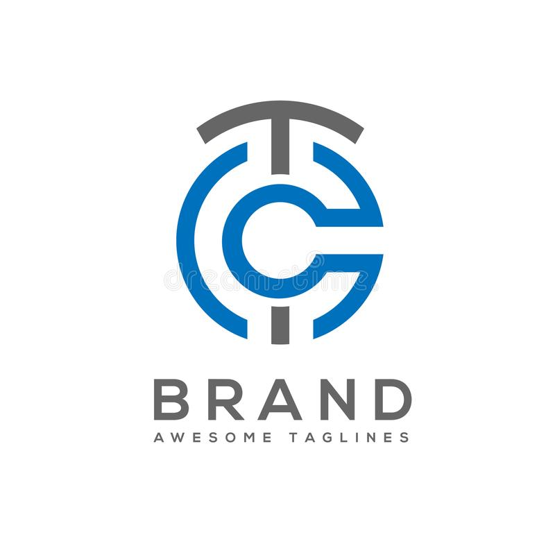 El mejor vector del logotipo del estilo del círculo de la letra del TC ilustración del vector