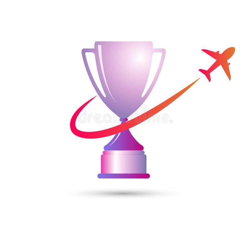 El mejores premio y victoria simples del trofeo del ganador de la taza de campeón con un elemento del diseño del icono del avión  stock de ilustración