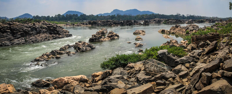El Mekong de Don Khon, Si Phan Don, provincia de Champasak, Laos fotografía de archivo