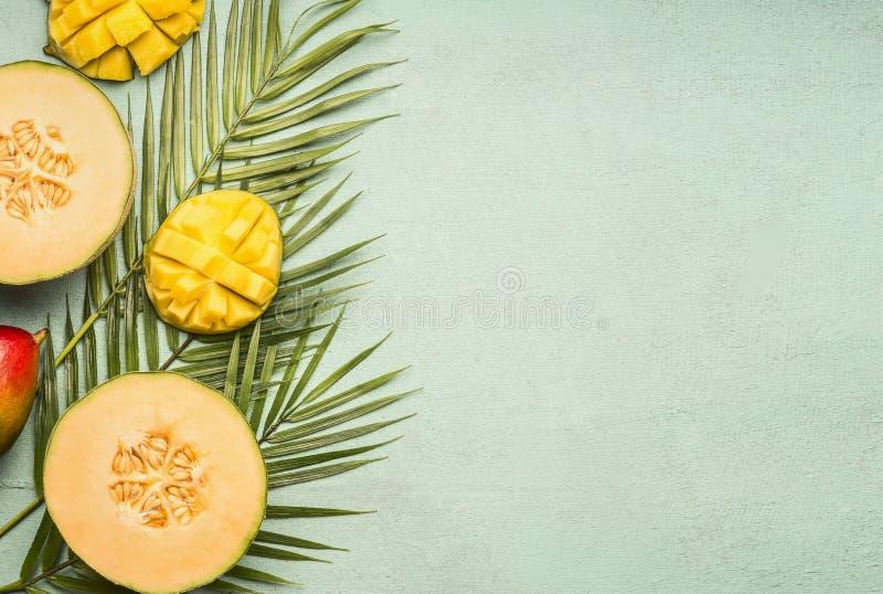 El melón y el mango frescos del corte pusieron en las hojas tropicales en un fondo rústico azul, espacio para el texto, endecha d imagen de archivo