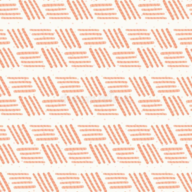 El melocotón Basketweave rosado raya el modelo inconsútil ilustración del vector