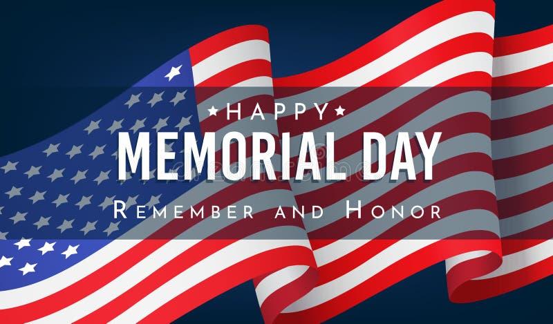 El Memorial Day, recuerda y honra, bandera con la bandera americana libre illustration