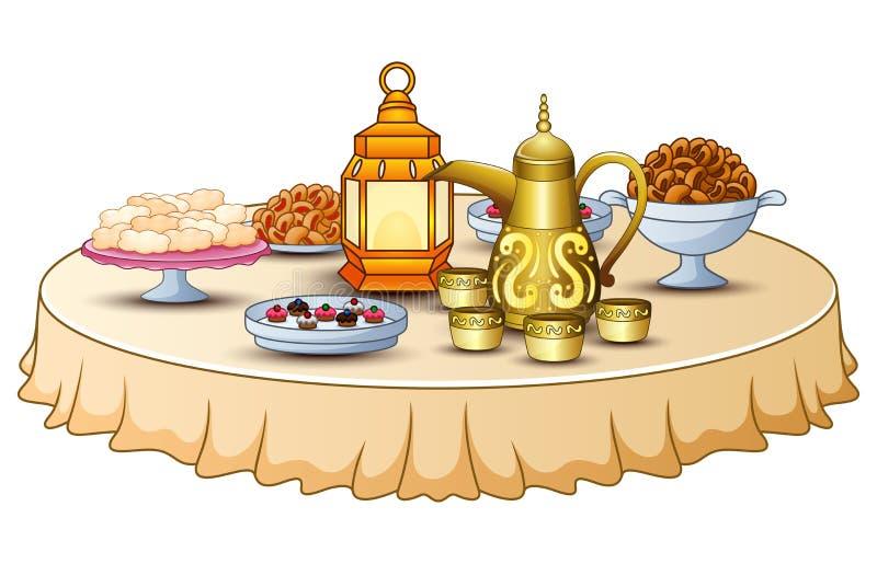 El menú delicioso para el partido iftar está en la tabla con la tetera de la linterna y del oro libre illustration
