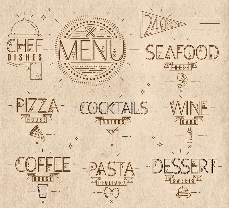 El menú en estilo moderno del vintage alinea el arte exhausto stock de ilustración