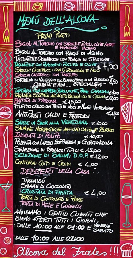 El menú italiano fotos de archivo