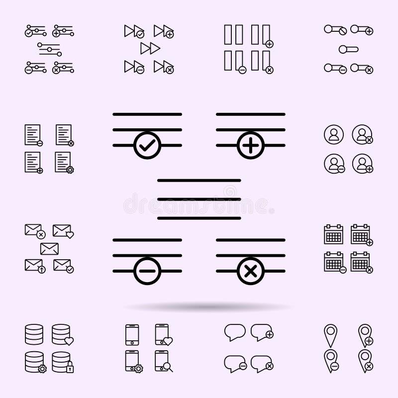 el menú, más, quita, menos, icono de la muestra del control sistema universal de los iconos del web para el web y el m ilustración del vector