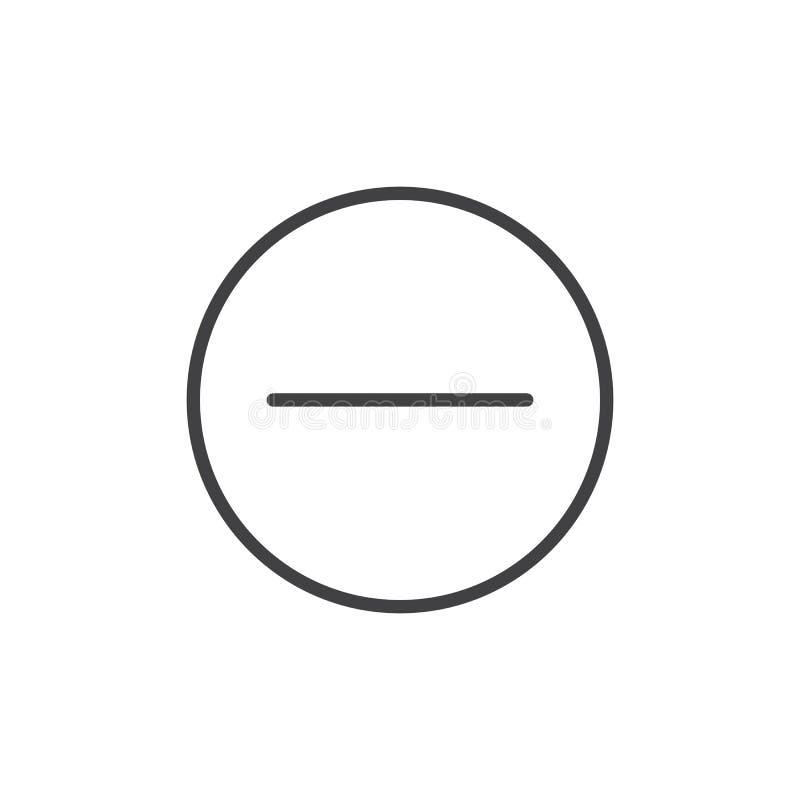 El menos, quita la línea icono stock de ilustración