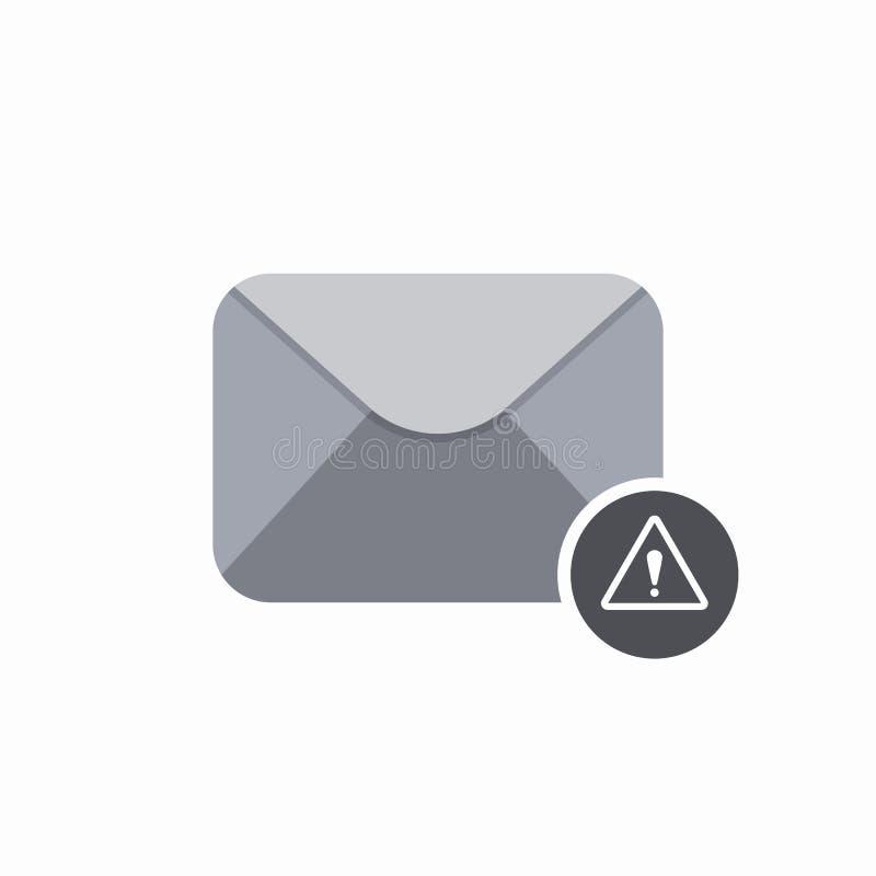 El mensaje alerta del correo de letra del sobre del correo electrónico envía el icono amonestador stock de ilustración