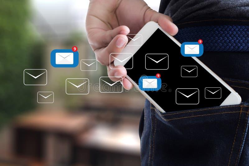El mensaje de la conexión de la comunicación del correo al envío entra en contacto con buzón de entrada fotografía de archivo