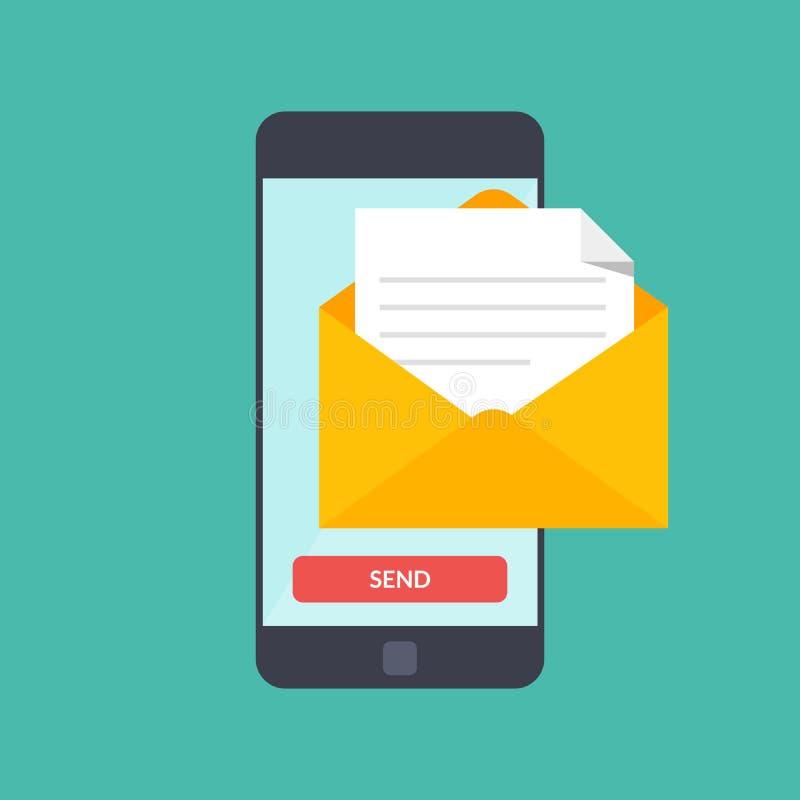El mensaje envía encendido el teléfono móvil Márketing del correo electrónico Vector el ejemplo en estilo plano en fondo del colo libre illustration