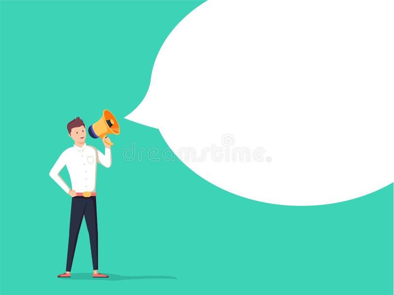 El mensaje El hombre de negocios comunica a través de un megáfono Ejemplo del negocio del concepto libre illustration