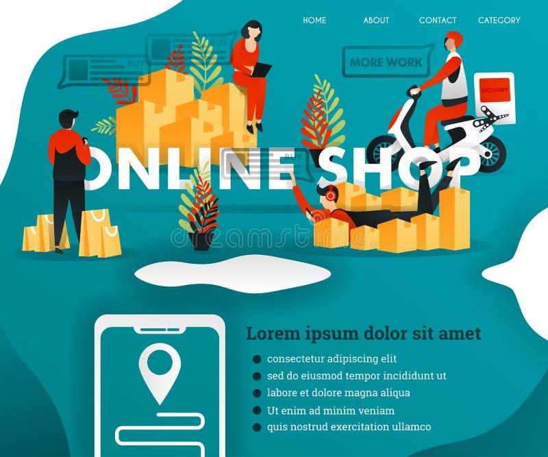 El mensajero entrega mercancías la gente está haciendo compras en la TIENDA EN LÍNEA muchas cajas convenientes para comercializar stock de ilustración