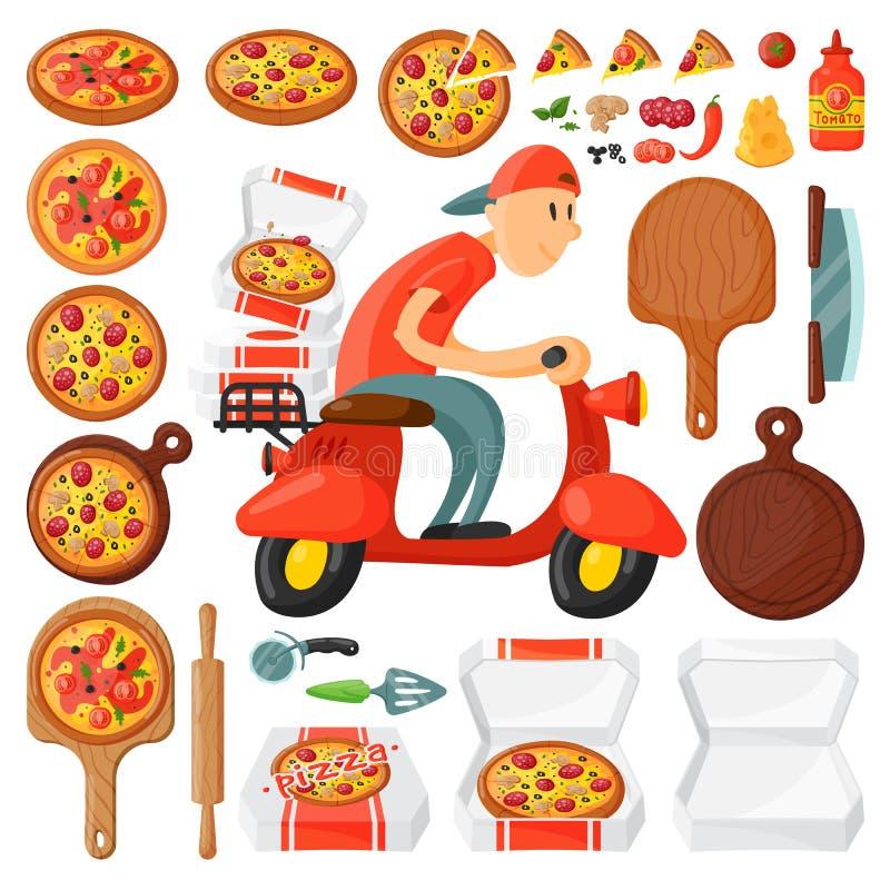 El mensajero italiano de la historieta de la pizzería del muchacho de entrega de la pizza del cocinero en la moto y entrega la co libre illustration