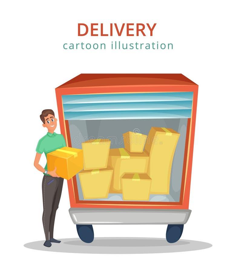 El mensajero se coloca cerca del camión con el cargo dentro Servicio de salida Ilustración del vector de la historieta ilustración del vector