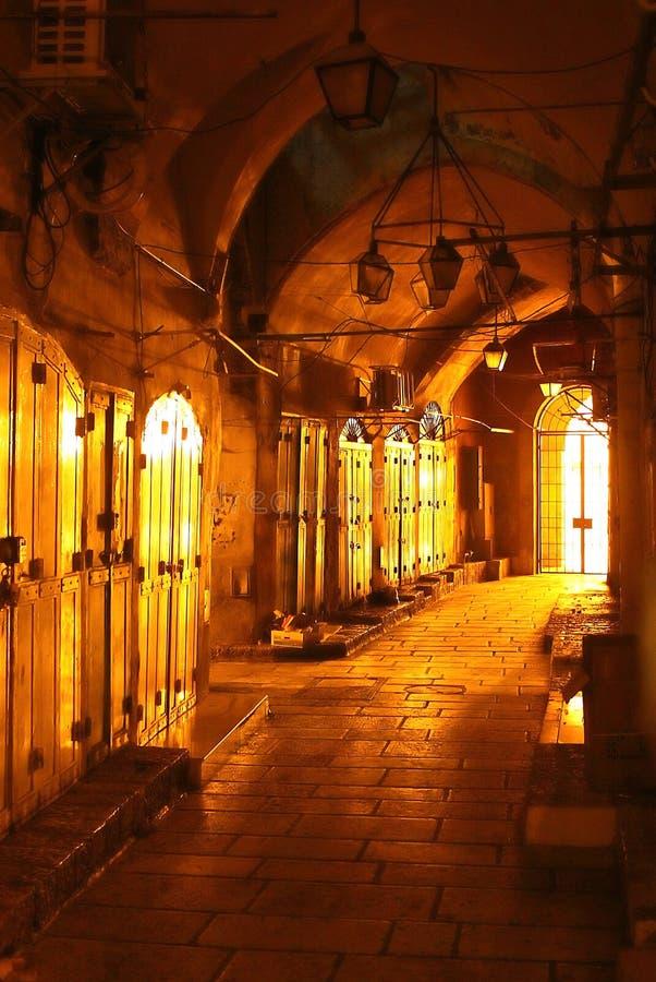 El mercado cerrado atasca en el viejo mercado de la ciudad de Jerusalén, Israel imagen de archivo libre de regalías
