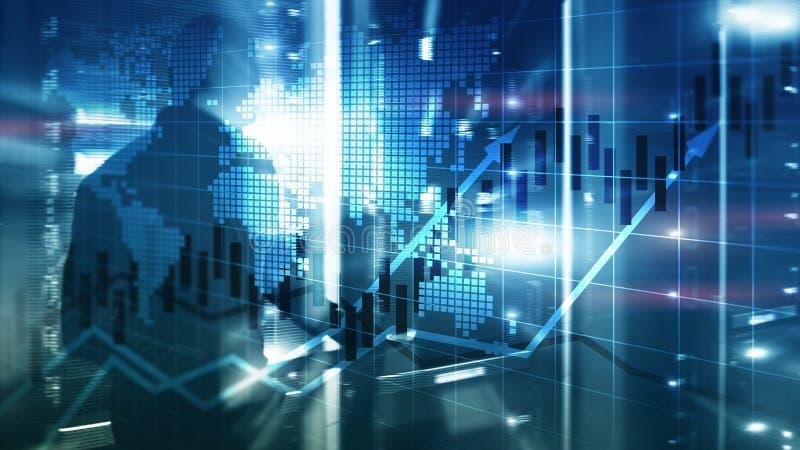 El mercado de acción financiero representa el concepto de ROI Return On Investment Business gráficamente de la carta de la vela foto de archivo
