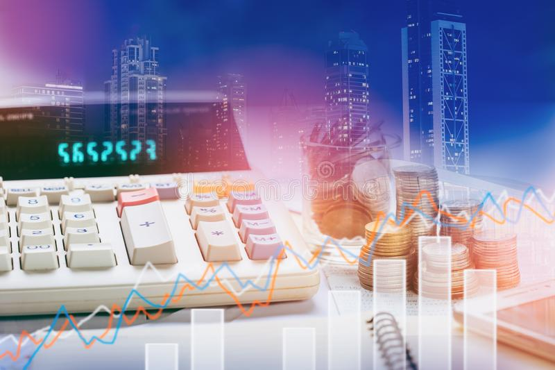 El mercado de acción o el gráfico y la palmatoria comerciales de las divisas trazan conveniente para el concepto de la inversión  ilustración del vector