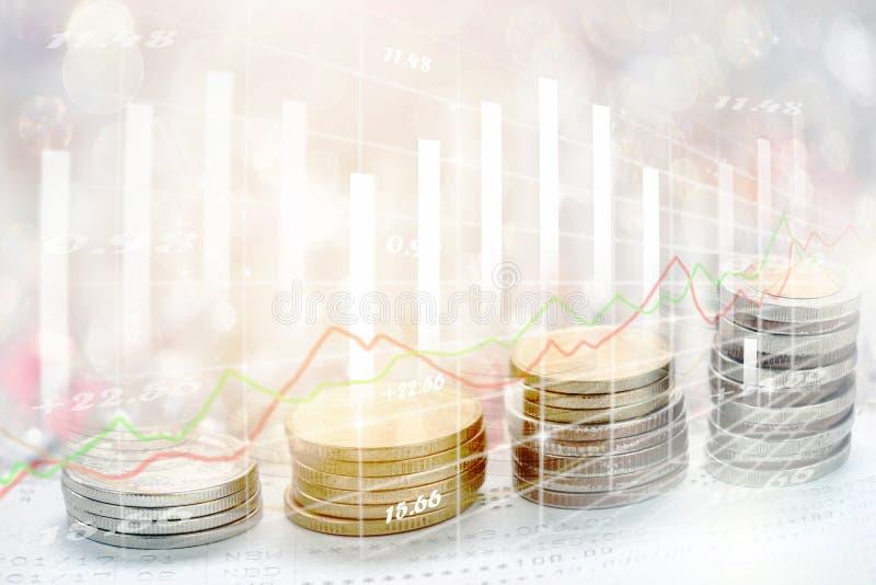 El mercado de acción o el gráfico y la palmatoria comerciales de las divisas trazan conveniente para el concepto de la inversión  imagen de archivo libre de regalías