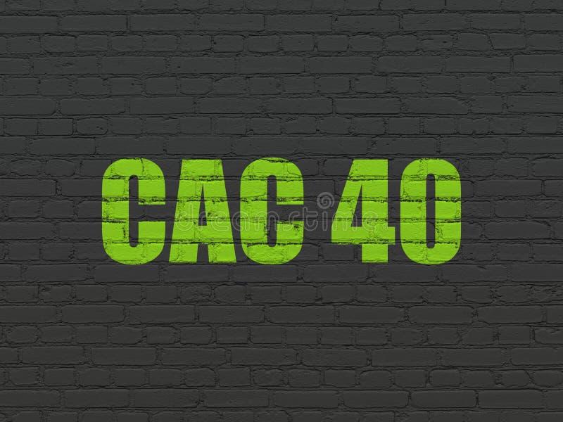 El mercado de acción pone en un índice concepto: CAC 40 en fondo de la pared stock de ilustración
