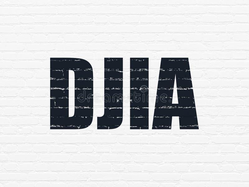 El mercado de acción pone en un índice concepto: DJIA en fondo de la pared stock de ilustración