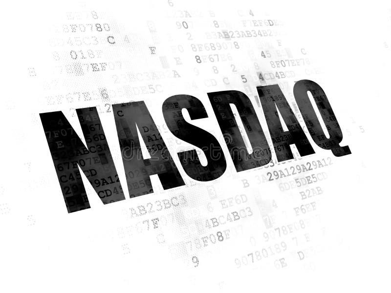 El mercado de acción pone en un índice concepto: NASDAQ en el fondo de Digitaces ilustración del vector
