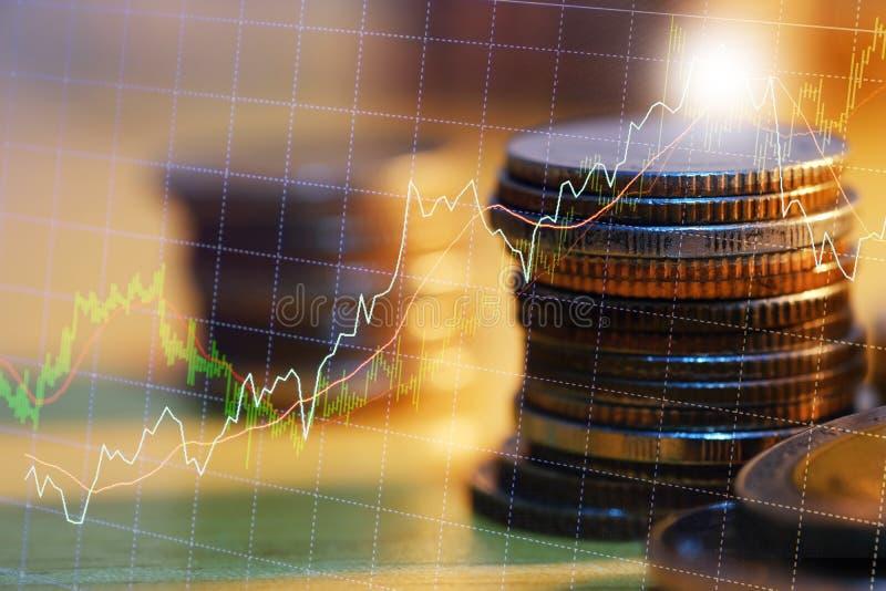 El mercado de acci?n o el gr?fico y la palmatoria comerciales de las divisas trazan conveniente para el concepto de la inversi?n  fotos de archivo
