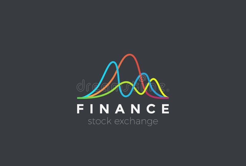 El mercado de bolsa de acción financiero traza el logotipo stock de ilustración
