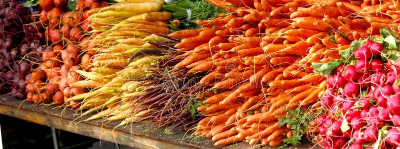 El mercado de los granjeros - verduras de raíz - remolachas, zanahorias, rábanos imagenes de archivo