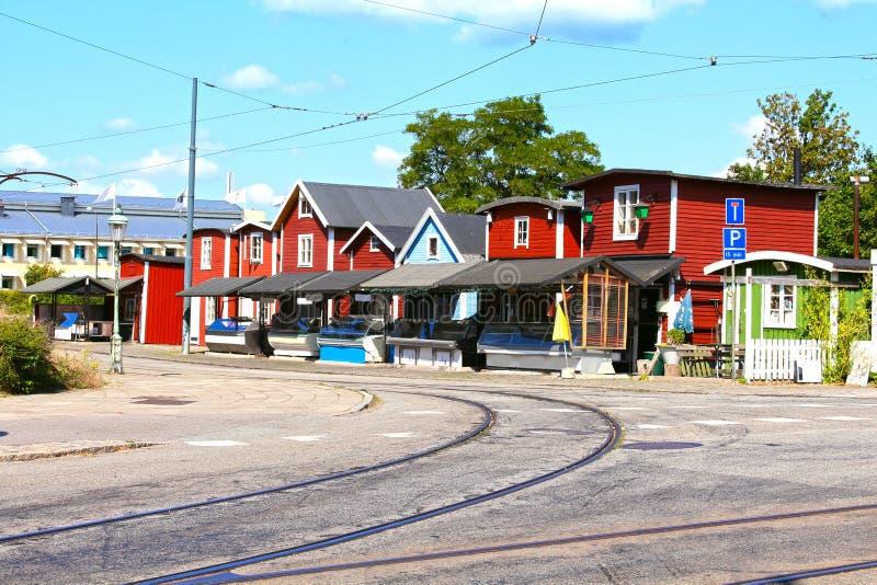 El mercado de pescados llamó Fiskehoddorna en Malmö Suecia fotos de archivo