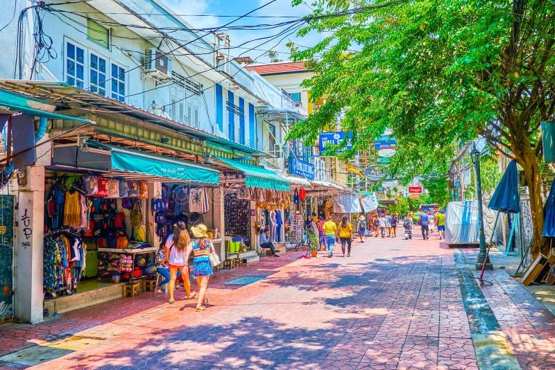 El mercado turístico en Bangkok vieja, Tailandia fotos de archivo