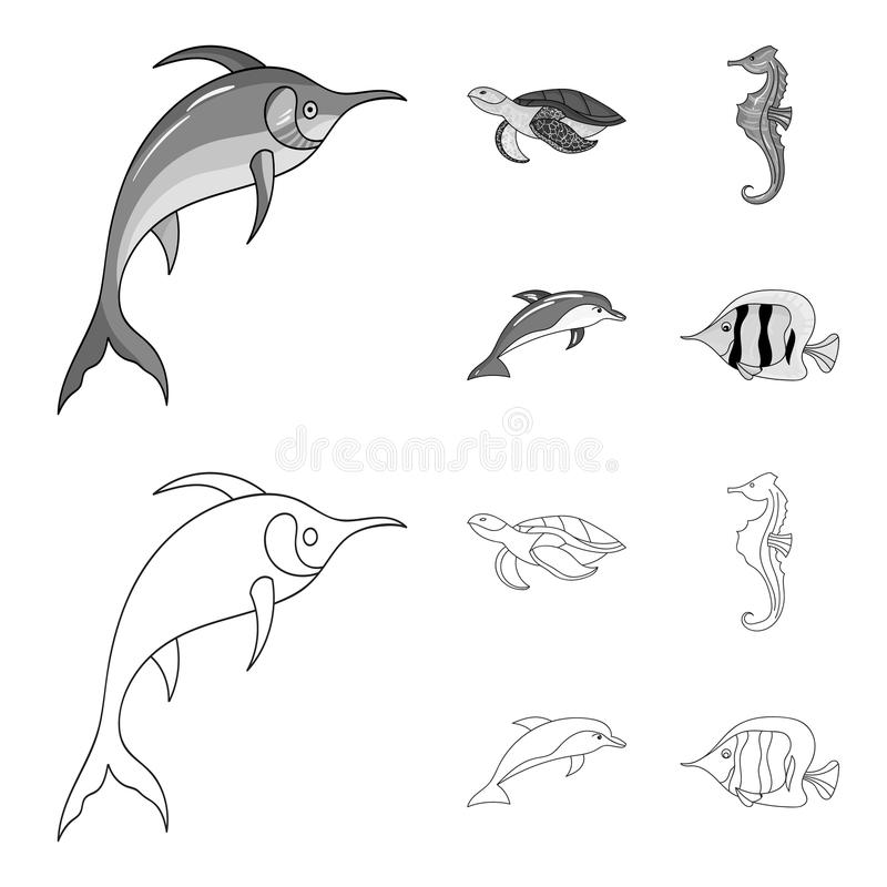 El MERLIN, la tortuga y la otra especie Los animales de mar fijaron iconos de la colección en el esquema, acción monocromática de ilustración del vector