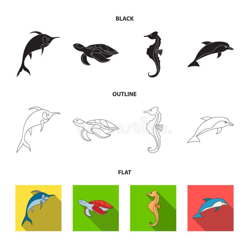 El MERLIN, la tortuga y la otra especie Los animales de mar fijaron iconos de la colección en negro, plano, acción del símbolo de stock de ilustración