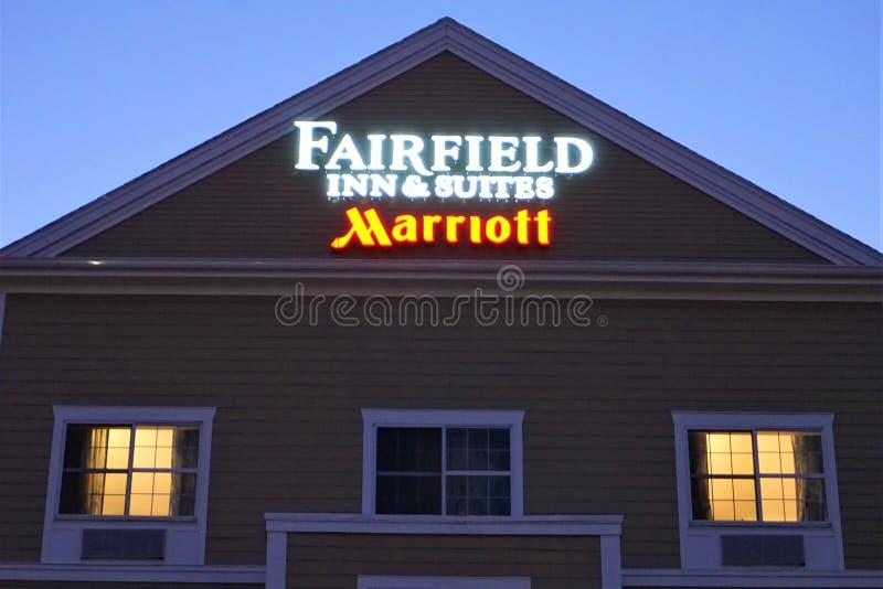 El mesón y las habitaciones Marriott de Fairfield firman adentro New Bedford imagen de archivo libre de regalías