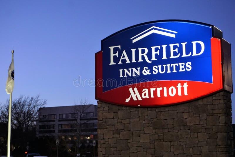 El mesón y las habitaciones Marriott de Fairfield firman adentro New Bedford imágenes de archivo libres de regalías