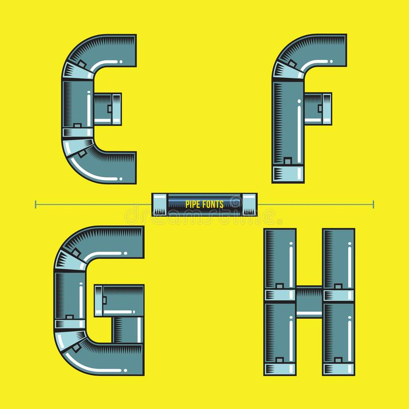El metal del alfabeto instala tubos estilo en un vector cómico de las fuentes del sistema EFGH stock de ilustración