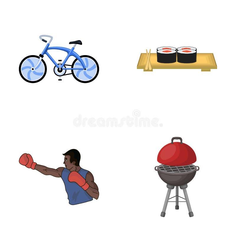El metal, el negocio, el restaurante y el otro icono del web en estilo de la historieta deportista, barbacoa, resto, iconos en la stock de ilustración